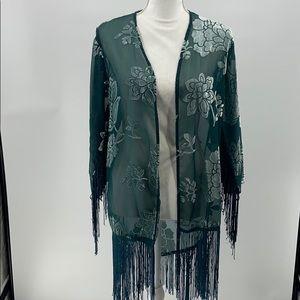Forever 21 green, teal, kimono with fringe  medium